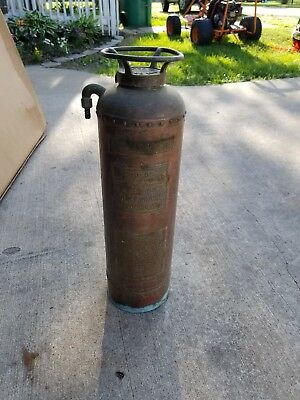 "Antique Vintage Childs Copper And Brass Fire Extinguisher 24"" Utica Ny 350 Lbs"
