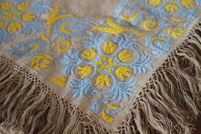 Antique French Handwoven Flax Linen Hand Embroidered Tablecloth Textile Vintage