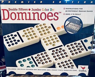 Cardinal Double 12 Color Dot Mexican Train Dominoes In Tin New