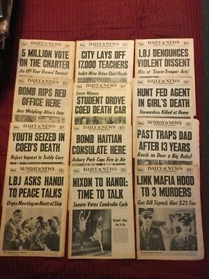 12 - Twelve New York Daily News Newspapers From 1967 To 1971