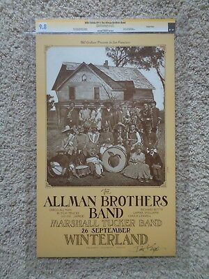 Allman Brothers Band Poster Certified Signed 1973 CGC Graded 9.8  Bill Graham
