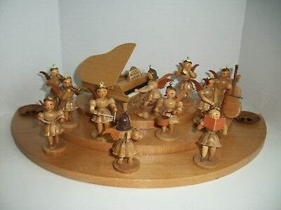11 Erzgebirge German Wooden Angel Band Figurines w/ Candle holder Stand/Piano