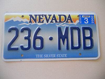 "US license plate Nevada Expired 2002 ""236-MDB"" The Silver State"