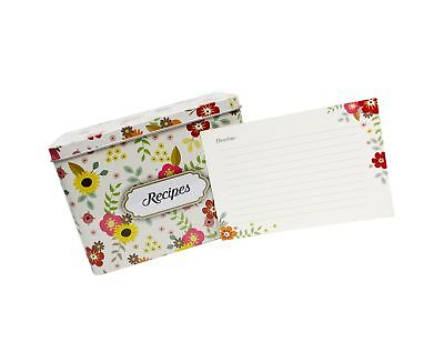 Light Metal Recipe Box Set With 100 Recipe Cards & 10 Blank Dividers | Holds ...