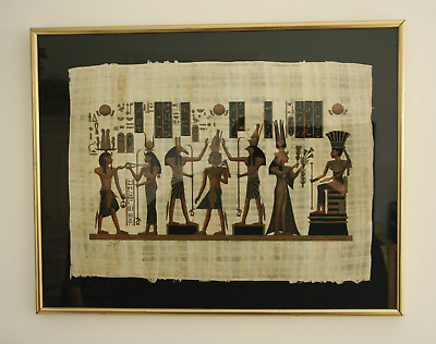 EGYPTIAN PAINTING ON PAPYRUS PAPER (the world's first paper) - SIGNED, FRAMED