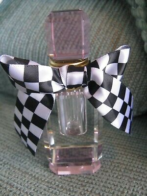 New Sexy Pink & Clear Faceted Crystal Glass Perfume Bottle  W/big Check Bow