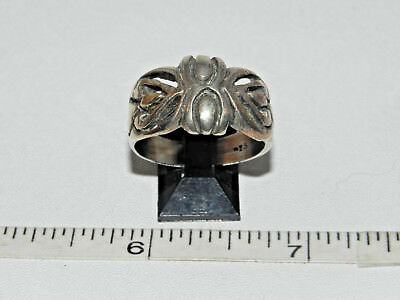 Vintage Heavy Sterling Silver Hand Crafted Ring Size 11