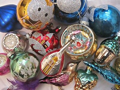 27 Vintage Antique Glass Ornaments  Shiny Brite, Germany Poland