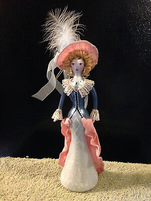 "9"" VICTORIAN LADY blue & pink with feathered hat glass-blown Christmas ornament"