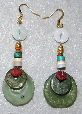 Ancient Earrings Roman Coin Glass Beads Stones Jade ~ Encrusted ~ Centuries Old