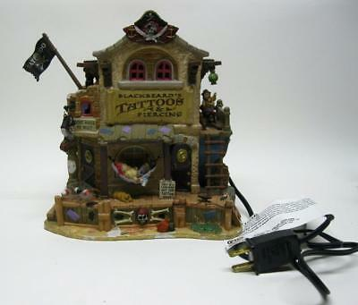 Lemax Spooky Town Black Beards Tattoo Porcelain Lighted Building 75551 Retired