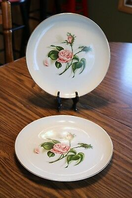 """Edwin Knowles - Ballerina - MOSS ROSE - Permacal - 10"""" Dinner Plates (2)"""