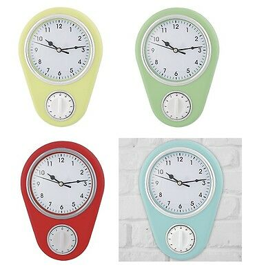 Retro Plastic Kitchen Wall Clock With Cooking Timer