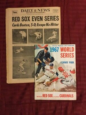 1967 World Series Program, Newspaper For Game 2 - Red Sox Vs. Cardinals