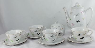 10 Piece Napco-China-Mid Century Modern-Tea Set-Tea Pot/4 Cups & Saucers/Sugar