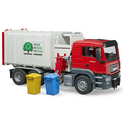 Bruder 53cm 1:16 MAN TGS Side Loading Garbage/Recycling Truck w/Bin  Kids Toy