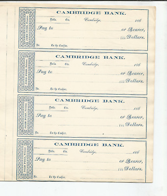 CAMBRIDGE BANK, MASS CHECKS- UNUSED- FROM 1860s- TOTAL OF 20 (5 PAGES OF 4 EACH)