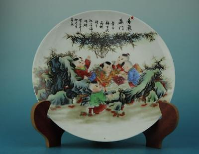 Chinese antique hand-made famille rose porcelain children pattern plate b02