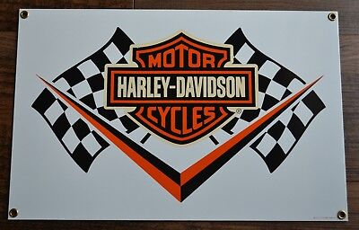 Ande Rooney Porcelain Harley Davidson Racing Flag Sign 2007 motorcycle