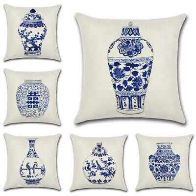 Chinese Style Blue And White Porcelain Print Sofa Pillow Back Cushion Cover Case