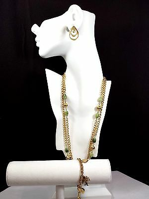 Vintage Jewelry LOT OF 3 Necklace Chain Earrings Bracelet Charms Gold Green #84