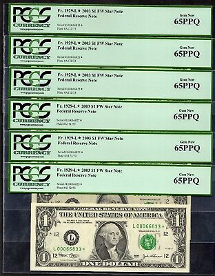 (11) 2003 $1 SAN FRANCISCO Star Note Federal Reserve PCGS 65PPQ L00066815*-881*