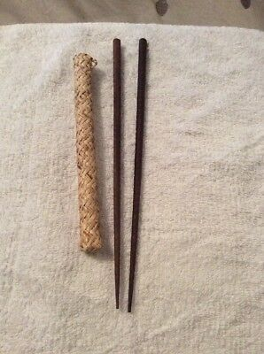 Vintage Rare Asian Pair Wood Chopsticks Hand Carved and 4 Hard Plastic 9.5""