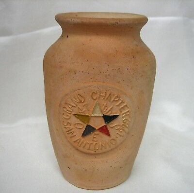 Rare Meyer Pottery Texas Stoneware Unglazed Vase Eastern Star Convention Masonic