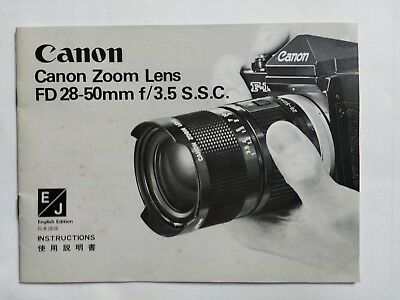 Canon FD 28-50mm f/3.5 S.S.C instruction book 1976