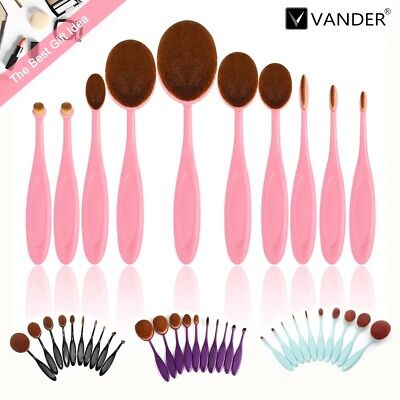 Vander 10Pcs/Set Color Optional Oval Makeup Cosmetic Brush Beauty Collection