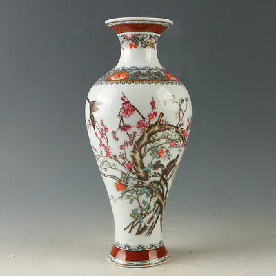 China Porcelain Hand-Painted Flower & Bird Vase W Qianlong Mark R1166.b