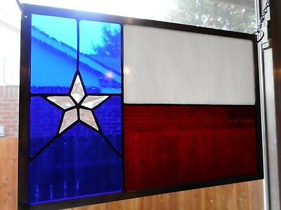 "Texas Proud - Stained Glass Window Panel Hanging - 15 3/4"" x 10 3/4"""