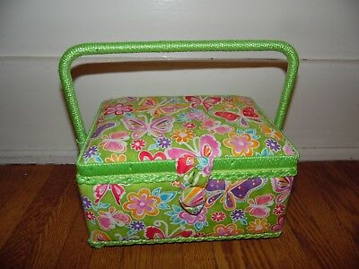 Neon Green Pink Multi Color Mod Floral Butterfly Print Sewing Notions Basket
