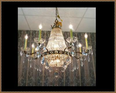 Vintage Antique French Empire Basket Chandelier Over 1000 Amazing Crystals LQQK!