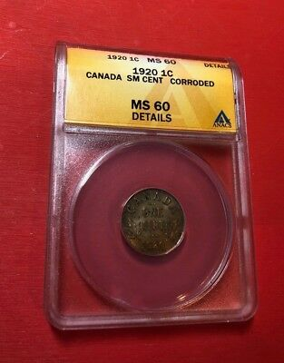 Canada One Cent 1920 NGC MS 60 Details - Small Cent