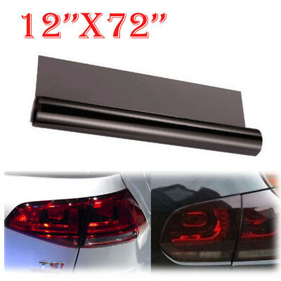 "12""x72""Black Light Auto Smoke Headlight Taillight Tint Vinyl Film Sheet Sticker"