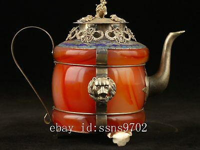 Collectible Old Handwork Jade Cloisonne Tibet Silver Dragon Tea Pot b01