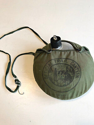 Vintage Boy Scouts Official Camping Canteen Green snap cover