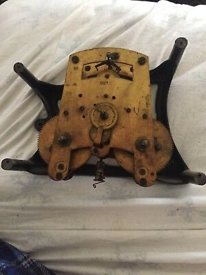 Antique 88 Mechanical Time Recorder Clock Movement 037 And Bracket