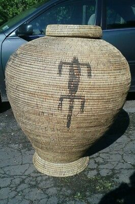 Antique African or northwest coast Indian California footed storage basket 42""