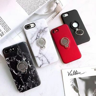 Ultra-Thin Marble Case With Finger Ring Stand Holder Silicone Cover For iPhone
