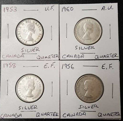 Lot of 4 , 1953 - 1956 - 1958 - 1960 Canadian Silver 25 Cent Quarter Coins 80%