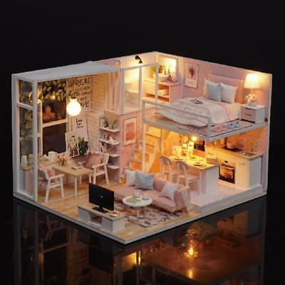 DIY Miniature Loft Dollhouse Kit Realistic Mini 3D Pink Wooden House Room Gift