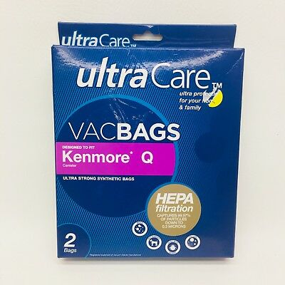 NEW UltraCare Ultra Care KENMORE Q Canister Vacuum Bags HEPA Filtration 2 Pack