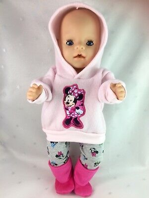 """Dolls clothes  for 17"""" Baby Born  doll~MINNIE MOUSE PINK HOODIE~LEGGINGS~BOOTS"""