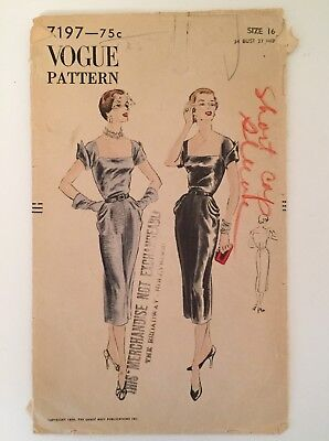 "Vogue 7197 vintage sewing pattern 1950s Femme Fatale evening dress Bust 34"" sz16"
