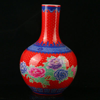 China Pastel Porcelain Hand Painted  Vase Mark  As The Qianlong  R1070.a