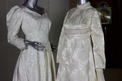 Lot 2 VTG 50s 60s Brocade  Wedding Gowns