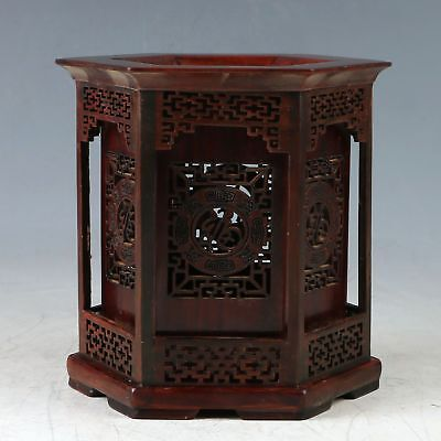 100% Natural Rosewood Hand Carved Hollow Brush Pot ZJ314.b