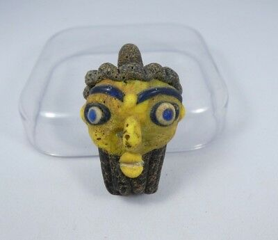 Ancient Blue Eyes Roman Mosaic Face Glass Pendant 34*23*13mm|Ancient Face Bead#4